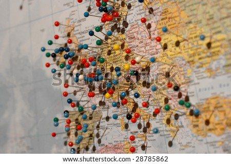 Map of europe with pins, shallow DoF