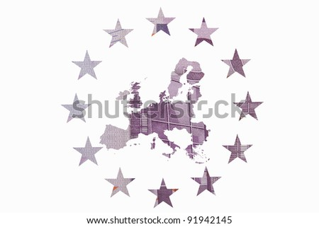Map of Europe with the twelve stars of the flag of the European Community  made with a 500 euros note. Concept of Europa, Euros and economy.