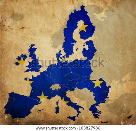Map of European Union countries on vintage paper
