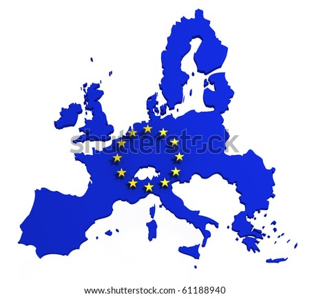 Map of European Union with flag of EU, isolated on white, 3d illustration