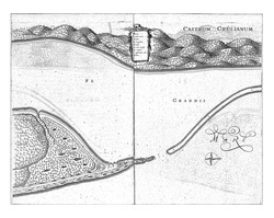Map of Fort Ceulen and environs, c. 1636-1644, Jan van Brosterhuyzen, after Frans Jansz Post, 1645 - 1647 Map of Fort Ceulen and environs, c. 1636-1644, vintage engraving.
