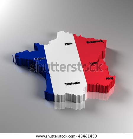 map of france with cities. stock photo : Map of France in