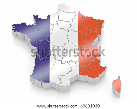 Map of France in French flag colors. 3d