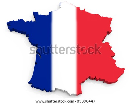 Map of France with flag, French Republic
