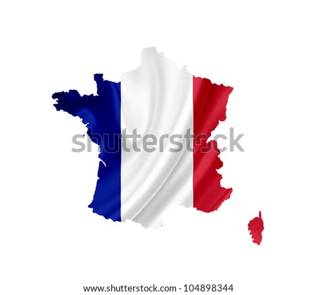 Map of France with waving flag isolated on white