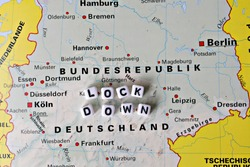 Map of germany, corona activities in germay word lockdown, written with single letters no person