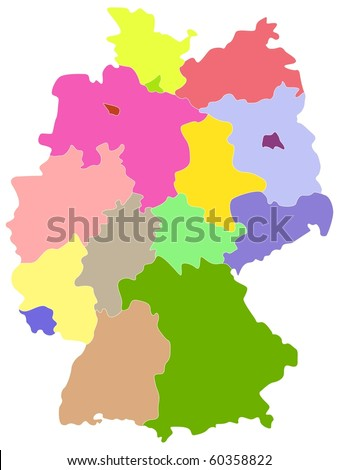 Map of Germany, each state is the individual isolated object. - stock photo