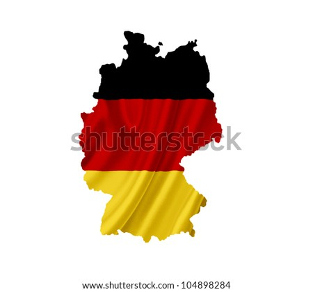 Map of Germany with waving flag isolated on white
