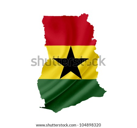 Map of Ghana with waving flag isolated on white