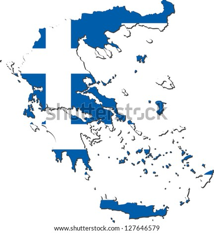 Map of Greece with national flag isolated on white background (raster illustration)