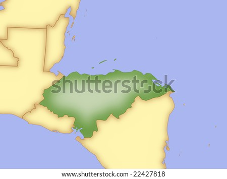 stock photo : Map of Honduras, with borders of surrounding countries.
