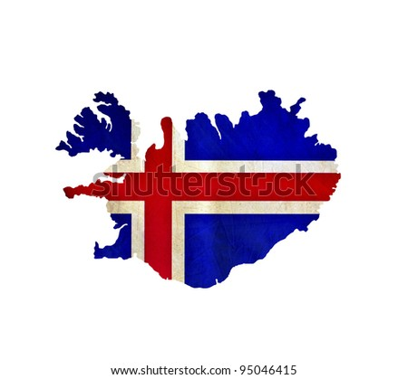 Map of Iceland isolated