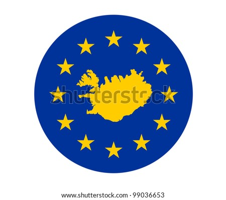 Map of Iceland on European Union flag with yellow stars.