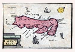 Map of Ile de Re, vintage engraving.