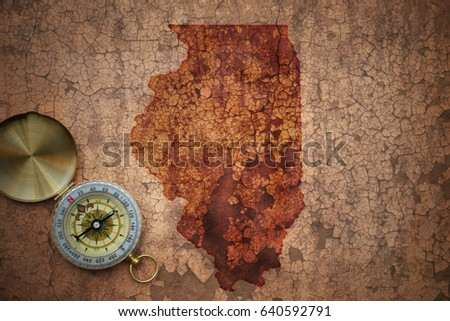 map of illinois state on a old...