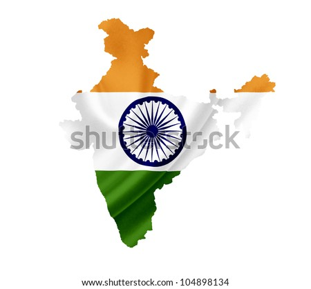 Map of India with waving flag isolated on white