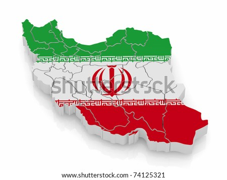 Map of Iran in Iranian flag colors. 3d