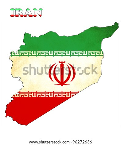Map of Iran with a flag