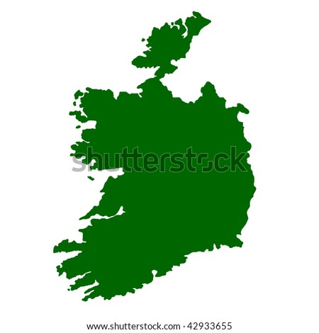 Map of Ireland isolated on white background.