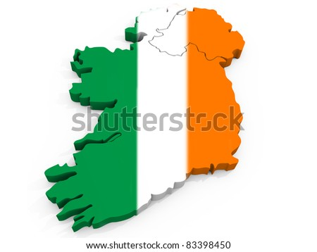 Map of Ireland with Flag, Republic of Ireland