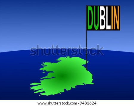 map of Ireland with position of Dublin marked by flag pole illustration JPG