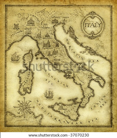 Map of Italy, drawn with ink on paper.