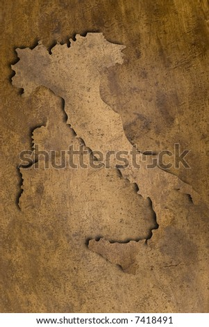 map of italy on vintage copper texture