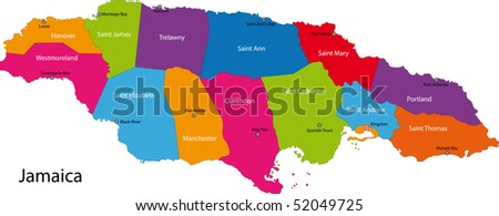 Map of Jamaica with the parishes colored in bright colors and the capital cities