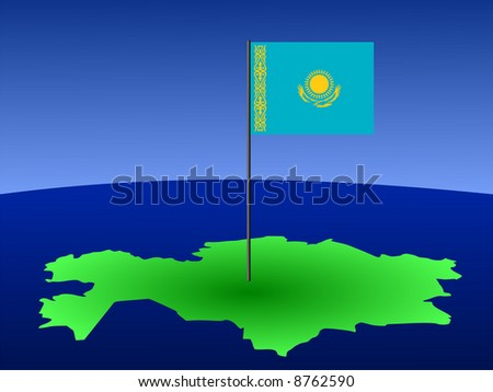 map of Kazakhstan and their flag on pole illustration