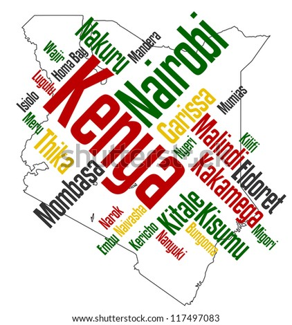Map of Kenya and text design with major cities