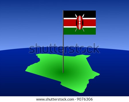 map of Kenya and their flag on pole illustration JPG