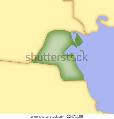 map of kuwait. map of kuwait and surrounding
