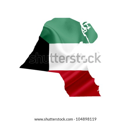 Map of Kuwait with waving flag isolated on white