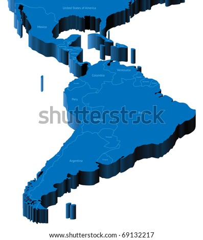 Map of Latin America with national borders and country names. Raster version. Vector version is also available.