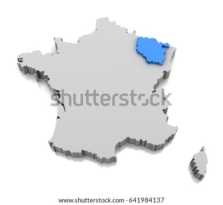 Map Of Lorraine Region Of France 3d Ez Canvas
