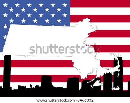 map of Massachusetts on American flag with Boston skyline JPG