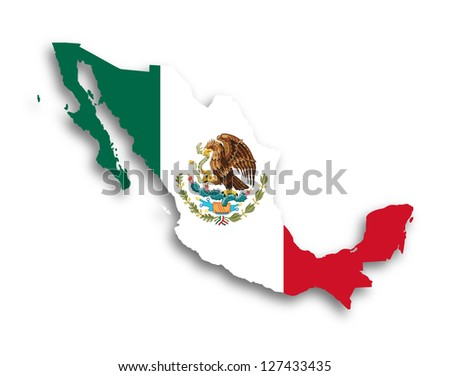 Map of Mexico filled with flag, isolated