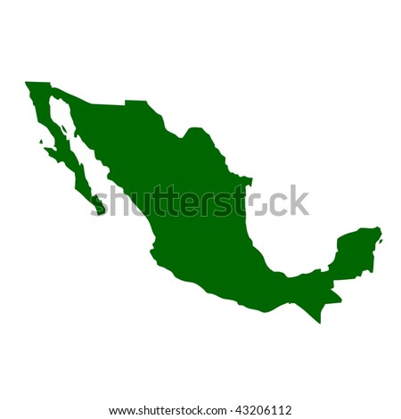 Map of Mexico, isolated on white background.