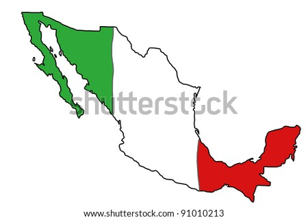 Map of Mexico with Mexican flag colours