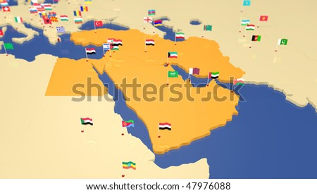 Map of Middle East with capital cities and national flag waving in the wind. Other continents / countries also available (see portfolio).