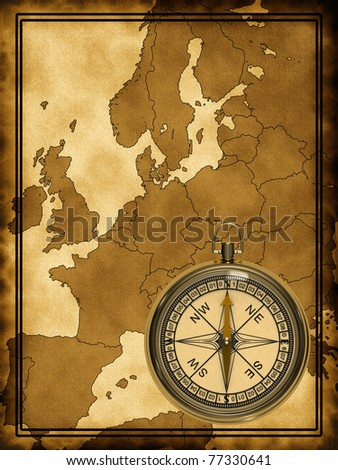 Map of modern Europe at the background with compass - stock photo