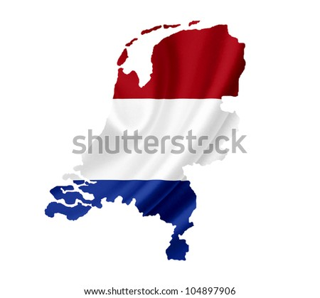 Map of Netherlands waving flag isolated on white