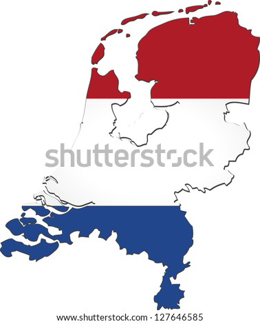 Map of Netherlands with national flag isolated on white background (raster illustration)