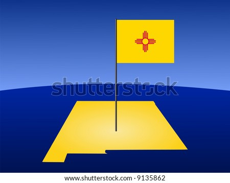 map of New Mexico and their flag on pole illustration JPG
