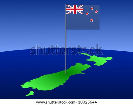 map of New Zealand and their flag on pole illustration JPG