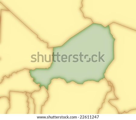 map of morocco and surrounding countries. stock photo : Map of Niger, with borders of surrounding countries.