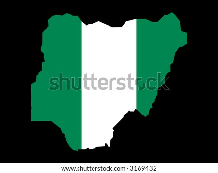 map of Nigeria and Nigerian flag illustration