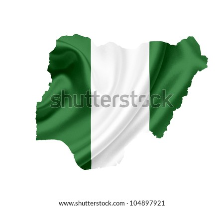 Map of Nigeria with waving flag isolated on white