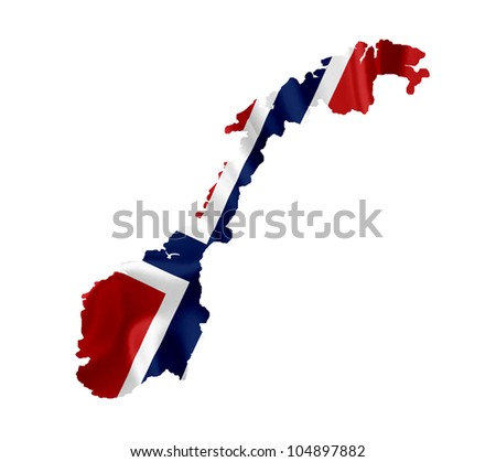 Map of Norway with waving flag isolated on white