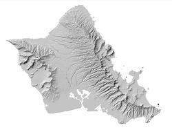 Map of Oahu Hawaii with Hillshade Overlay